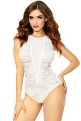 C322 White Lace and Mesh Keyhole Teddy