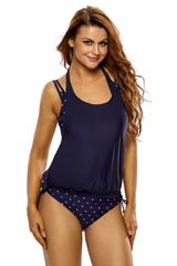 S053 Navy Pink Dotted Bathing Suit/Cover up