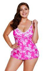 S0281 Rosy White Leafy Print 2pcs Tankini Swimsuit
