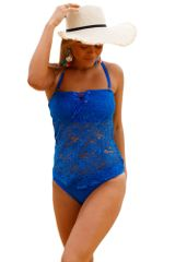 S4101 2PC Blue Grommet Lace Crochet