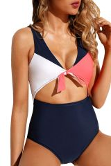 S657 Cutout Tie Knot Front High Waist Maillot Swimsuit