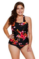 S029 One Piece Black Floral Print Swimsuit
