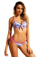 S922 Pink Blue Floral Print Bikini