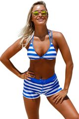S2324 Chambray Cottage Halter Bikini Boyshort Set