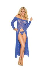 1519Q Royal Blue Long Sleeve Lace Gown
