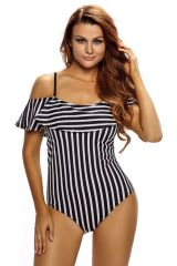S0181 One Piece Navy White Stripes Swimwear