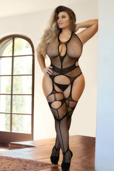 T245Q Total Babe Cut Out Fishnet Bodystocking