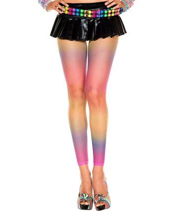L35416 Rainbow Fishnet Leggings