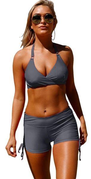 S4211G Gray Wrap Halter Shorts Swimsuit
