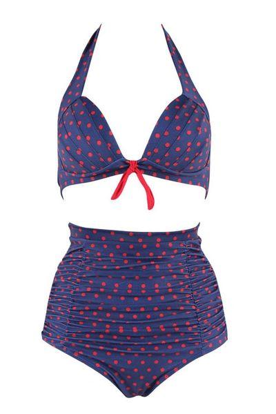 H166 Navy Blue Red Poka Dot Padded High Waisted Bikini