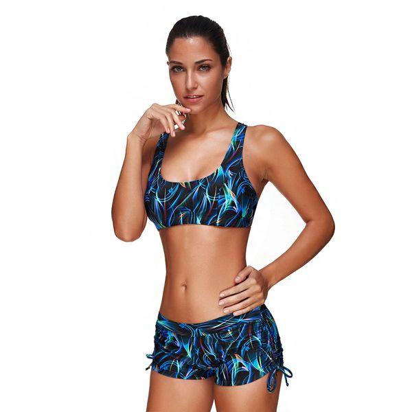 H169 Multicolored Crop Top Boy Short Swimsuit Set
