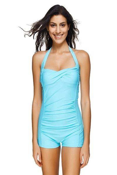 H177 Blue Boyshort Ruched Halter Top Swimsuit