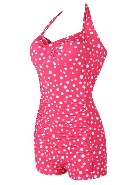 H480 Naughty Red Polka Dot One Piece Swimsuit