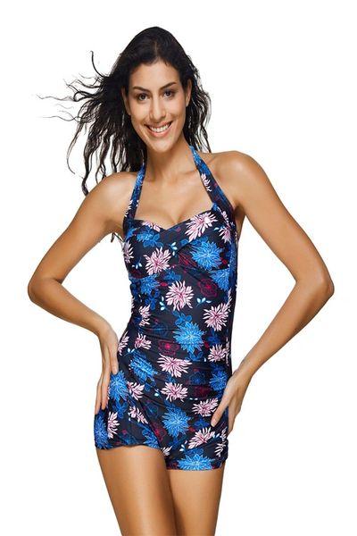 I483 Blue Gorgeous Floral Twist Front Swimsuit