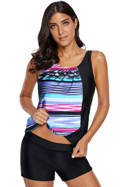 SL876 Multicolor Asymmetric Striped Splice Tank Top and Short Swim-set