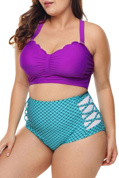 L758 Purple & Blue Scalloped Detail High Waist Swimsuit