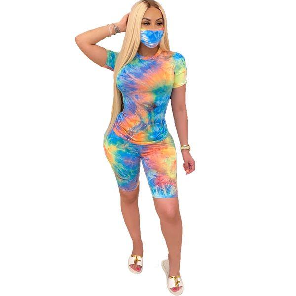 KL84 Blue/Orange Tie Dye Short Set w/Mask