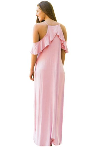 D9010P Pink Ruffle Sleeve Cold Shoulder Maxi