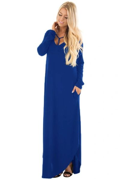 D655 Blue Y Strap Neckline Relaxed Long Dress