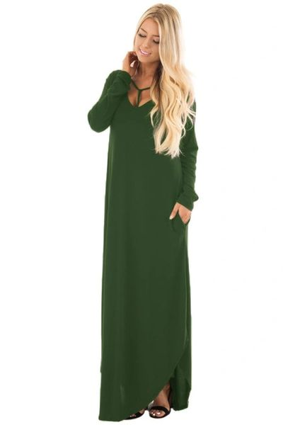 D655 Green Y Strap Neckline Relaxed Long Dress