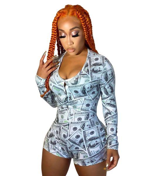 K1013 Green Money Print Long Sleeve Pajamas