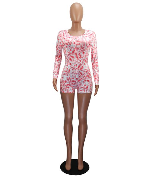K1013 Pink Money Print Long Sleeve Pajamas