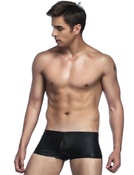 MY006 Black Wetlook Men Boxer Brief