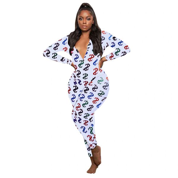 K462 White Long Colorful Dollar Sign Adult Onesie