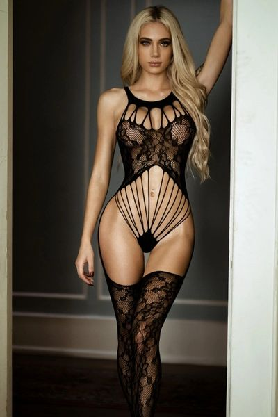 T277 Bare it All Lace Caged Fishnet Bodystocking
