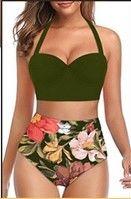 SA601 Green Top Floral High Waist Bottom