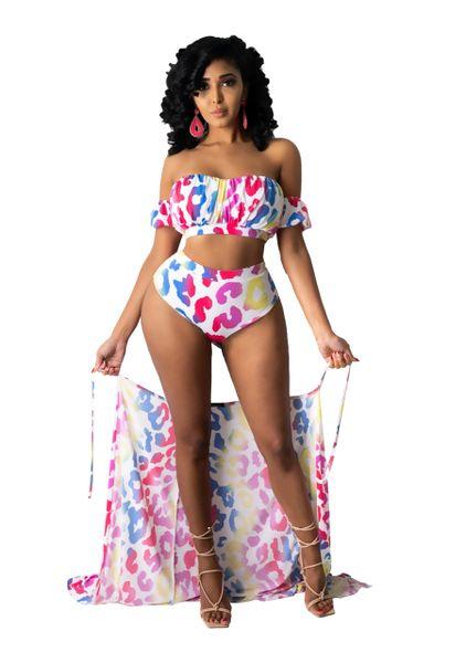 SK065 Splattered Printed 3 Piece Swimsuit