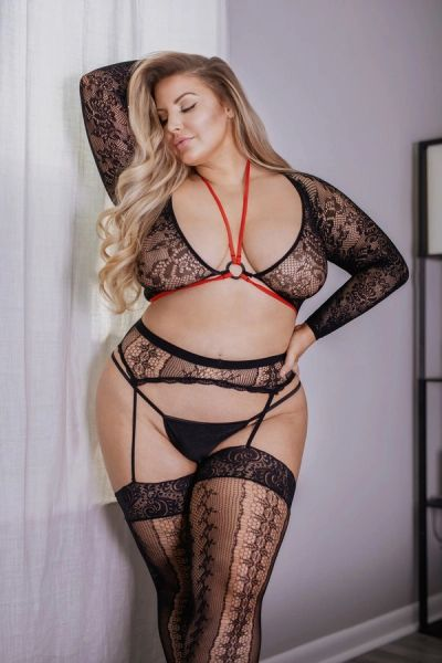 T230Q Caged Bra Top Fishnet Bodystocking