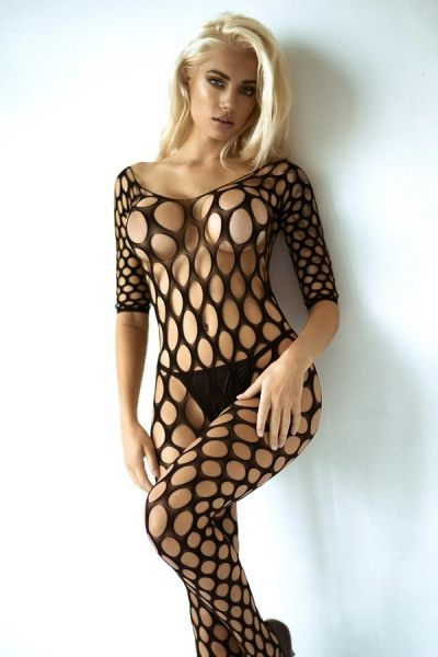 T270 Open Work Fishnet 3/4 Sleeve Bodystocking