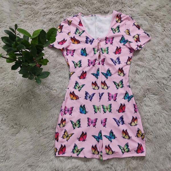 AL710 Short Sleeve Pink Butterfly