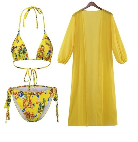 S474Y Asian Design Three Piece Bikini Set