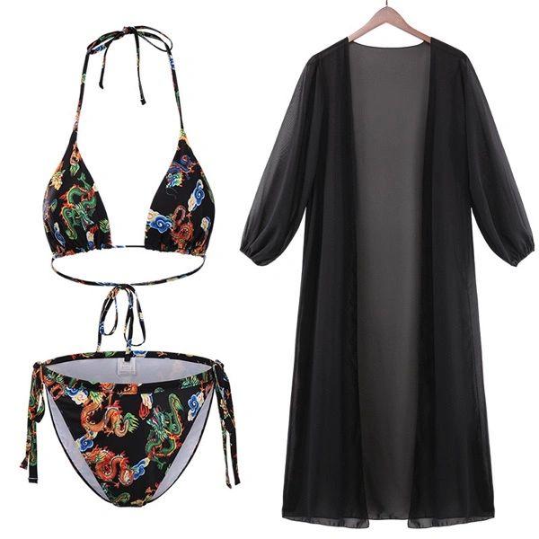 S474B Asian Design Three Piece Bikini Set