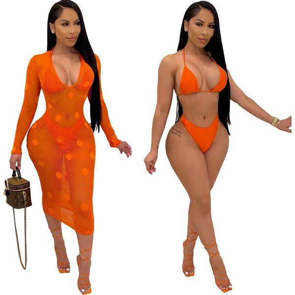 S5190 Orange Three Piece Bikini Set