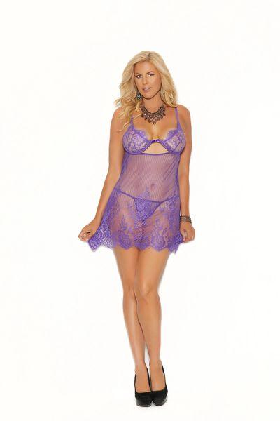 44002X Purple Eyelash Lace Underwire Babydoll