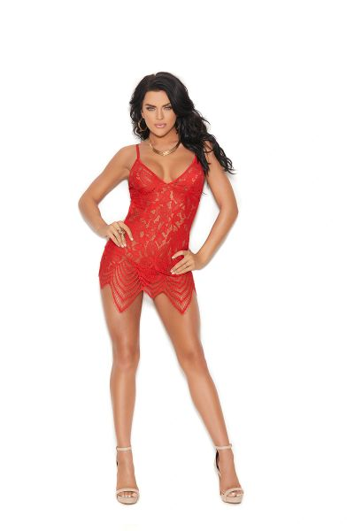 4322 Red Remy Lace Wireless Chemise Set