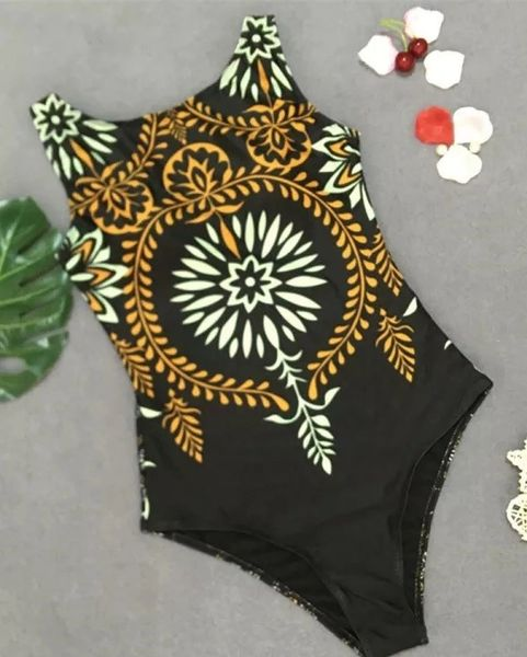 S8786 Black Gold Trim One Piece Swimsuit
