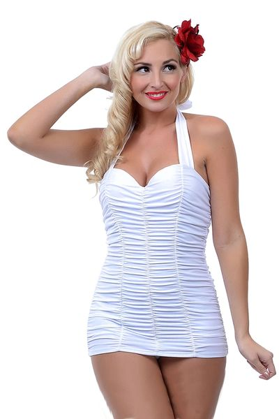 S4030 White Piece Pleated Vintage Swimsuit