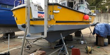 Hull prepared and ready for fresh anti-foil coat