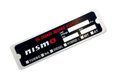 Nismo Nissan Oil Change Info Plate