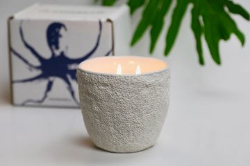 Coral Reef Container Soy Candle. Packaged with Kraft mailer with Octopus Gulfstream Logo.