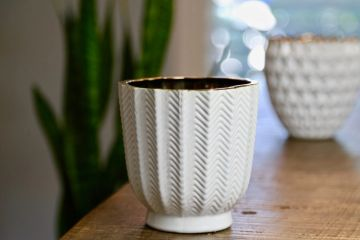 Chevron Ceramic Container Soy Candle. Made with Natural wicks and Recycled kraft box