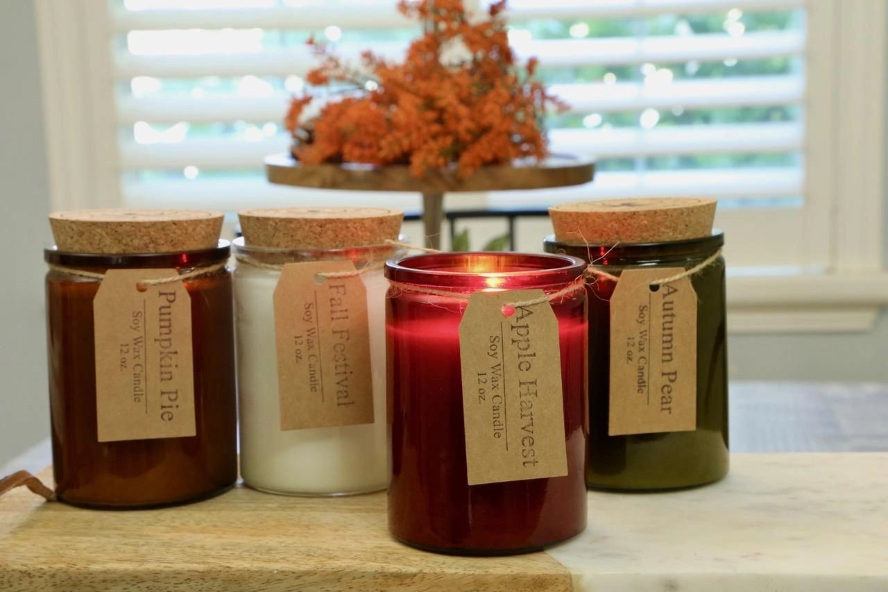 Fall Soy Candle Collection. Apple Harvest, Pumpkin Pie, Autumn Pear, and Fall Festival. Autumn