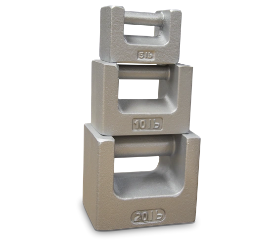 Rice Lake Cast ASTM Class 7 1-10lb/0.5-5kg Iron Calibration Weights - Grip Handle and Nesting Slab Weights
