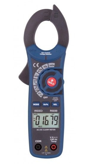 REED R5030 500A AC/DC Clamp Meter with Temperature and Non-Contact Voltage Detector, True RMS