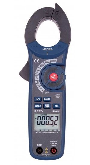 REED R5040 1000A AC/DC Clamp Meter with Temperature and Non-Contact Voltage Detector, True RMS