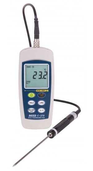 REED C-370 RTD Thermometer, -148 to 572°F (-100 to 300°C), Waterproof (IP67)